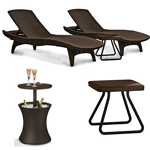 Keter pacific Outdoor Patio Pool Lounger and Side Table Brown Set With A Cool Bar Rattan Style Patio Beverage Cooler Bar Table Heavy Duty Bundle