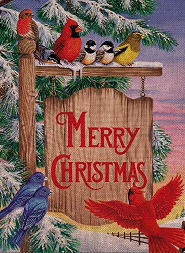 Selmad Home Decorative Merry Christmas Cardinal Garden Flag Winter Red Bird Double Sided, Rustic Quote House Yard Flag Xmas, Outside New Year Yard Decorations, Holiday Seasonal Outdoor Flag 12 x 18 (Yard Flags Christmas Small)