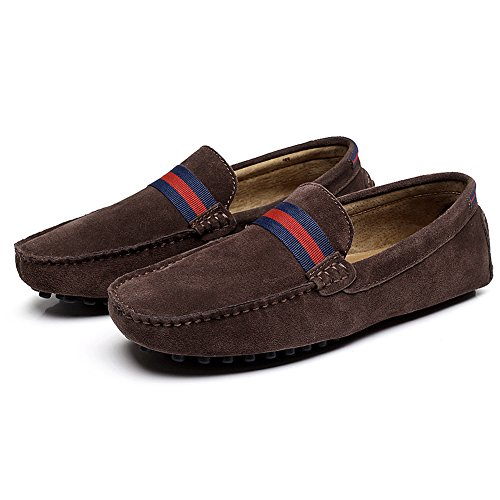 Shenn Mens Braid Design Slip-On Moccasins Suede Leather Loafers Shoes Brown 7BHoXA