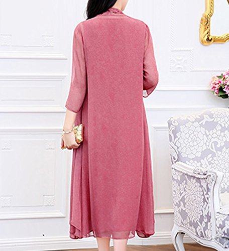 Midi Flowered Kleider Rosa Seide Cocktail S1718 E Kleid Damen girl Übergröße Abendkleid 7Ixa7g6