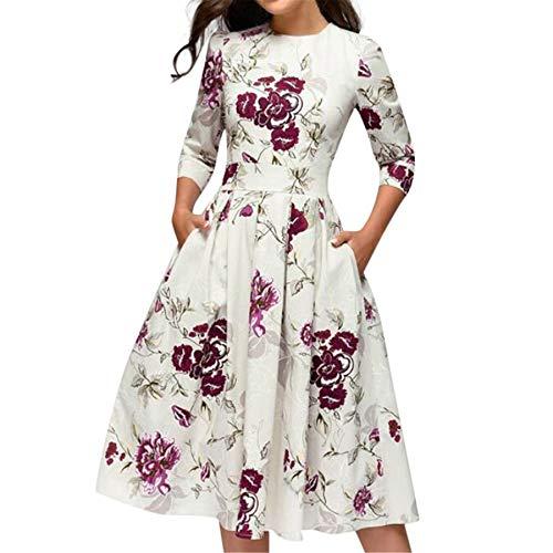 (Women Vintage Tea Dress 1950's Floral Retro A Line Swing Prom Party Cocktail Audrey Hepburn Dresses for Women)