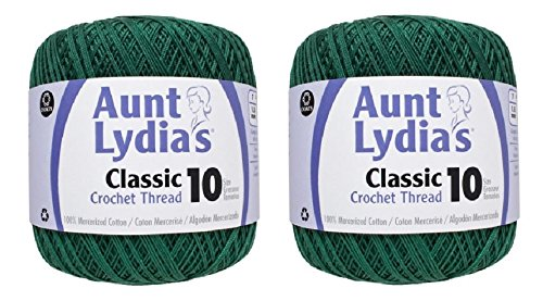Aunt Lydia's Crochet Thread - Size 10 - Forest Green (2-Pack) (Forest Green Thread)