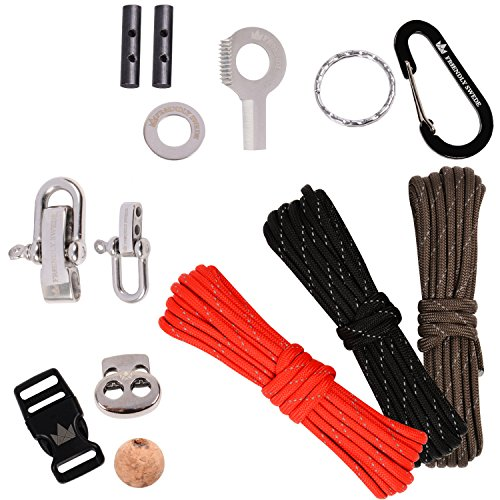 The Friendly Swede DIY Paracord Kit - With 3 X Cords + 10 X Essential Accessories to Make Your OWN Survival Paracords, with Basic Instructions + (Reflective (Mix Instructions)