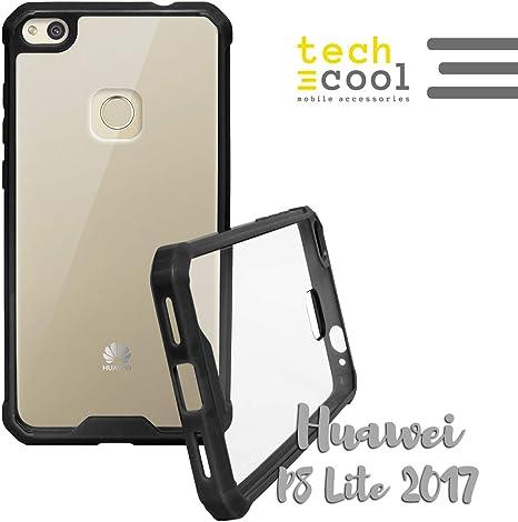 Funnytech Funda Bumper para Huawei P8 Lite 2017 Funda Bumper Rígida Muy Resistente a Golpes Tapa Trasera Plástico Rígido Transparente Carcasa Case Serie Bumper Side ...