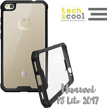 Funnytech Funda Bumper para Huawei P8 Lite 2017 Funda Bumper Rígida Muy Resistente a Golpes Tapa Trasera Plástico Rígido Transparente Carcasa Case Serie Bumper Side Color Borde [Color: Amazon.es: Electrónica