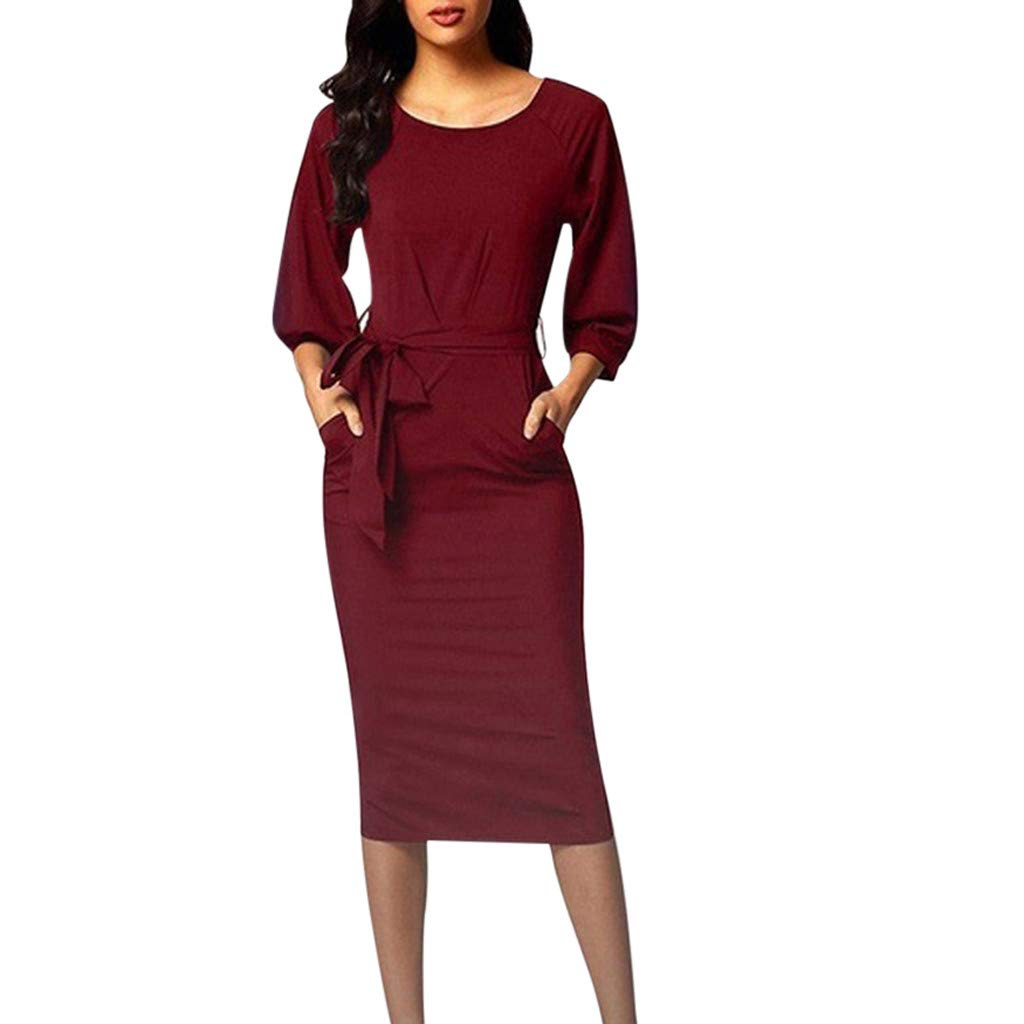 TRENDINAO Women Pencil Dress Autumn Fashion Long Sleeve Solid Slim Crew Neck Dresses for Special Occasions Wine by TRENDINAO