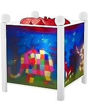 Trousselier - Elmer van de olifant - Nachtlampje - Magische lantaarn - Ideaal geboortecadeau - Kleur hout wit - geanimeerde afbeeldingen - rustgevend licht - 12 V 10 W gloeilamp inclusief EU-stekker
