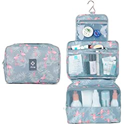 Travel Junkie 51ijyl02bvL._SS247_ Hanging Travel Toiletry Bag Cosmetic Make up Organizer for Women and Girls Waterproof (A-Flamingo)