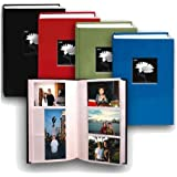 "Pioneer Fabric Frame Bi-Directional Memo Photo Album, Bright Fabric Covers, Holds 300 4x6"" Photos, 3 Per Page, Color: Assorted."