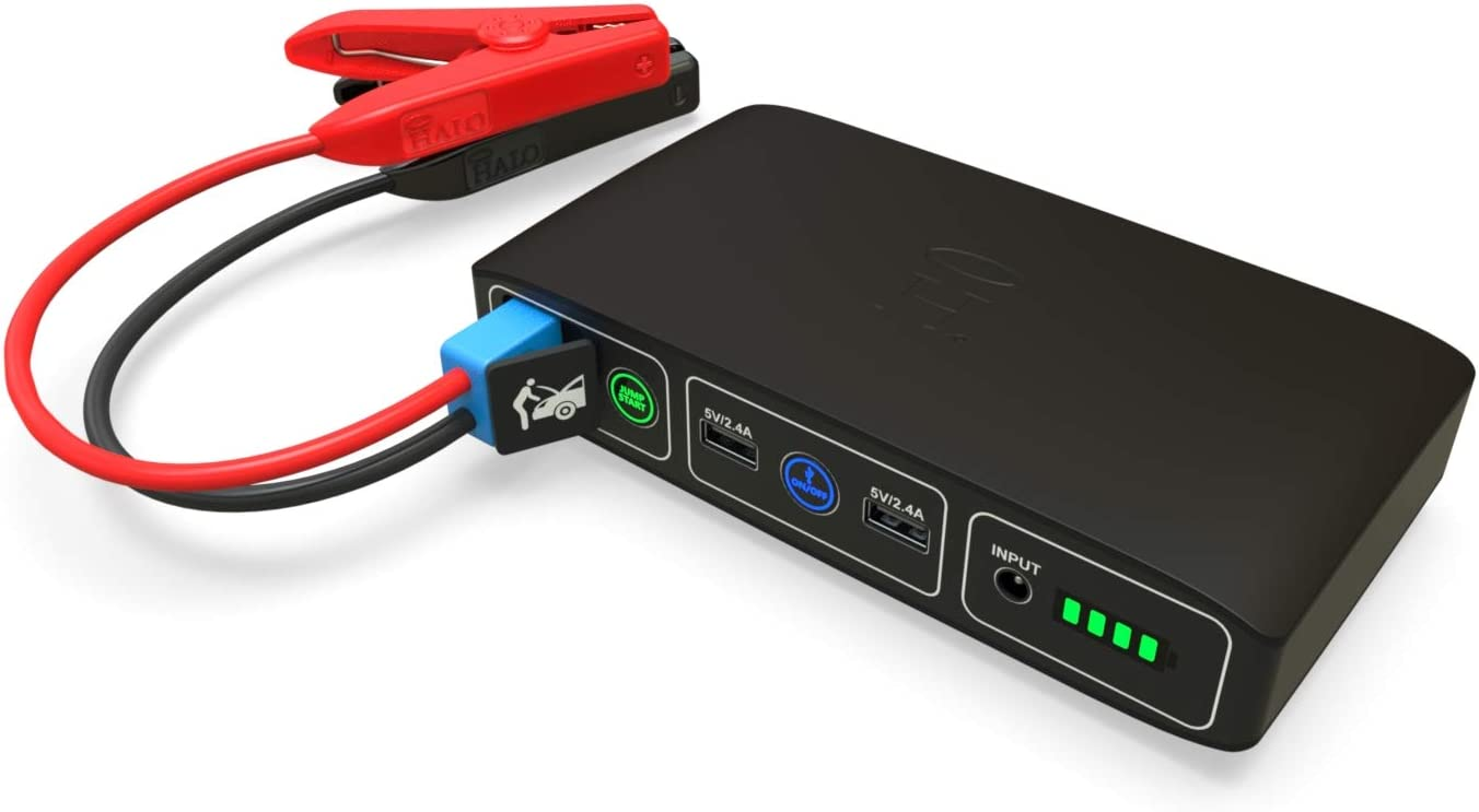 Matte Black HALO Bolt Portable Car Jump Starter 57720 Mwh Car Battery Jump Starter with 2 USB Ports