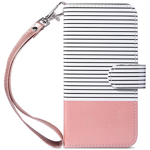 (ULAK iPhone 8 Case, iPhone 7 Case Wallet, Premium PU Leather Case with Kickstand Card Holder ID Slot and Hand Strap Shockproof Protective Cover for Apple iPhone 7/8 4.7 Inch, Rose Gold Black Stripe)