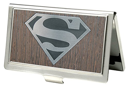 (Buckle-Down Business Card Holder - Superman Logo Marquetry Black Walnut/Metal - Small )