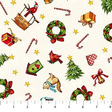 (Winter Magic Christmas Items Candy Cane, Birdhouses and More Cotton Northcott Fabric)