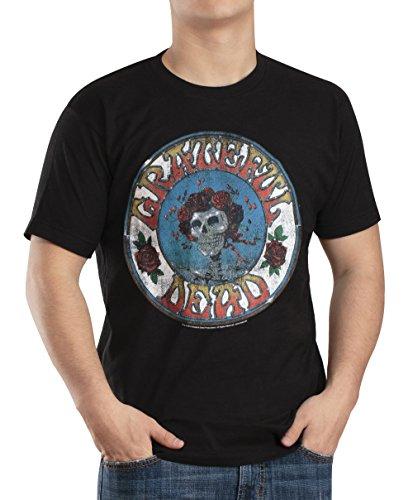 Grateful Dead Skull and Roses Distressed Mens Black T-shirt XL (Greatful Dead Bear)