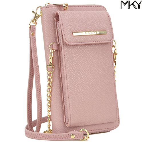 Cellphone Wallet Smartphone Pouch Clutch Purse Crossbody Shoulder Bag Wristlet Smart Phone Case Pink by MKY