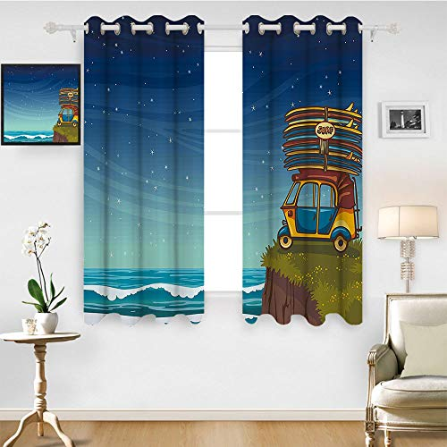 SATVSHOP Room Darkening Wide Curtains - 84W x 108L Inch- Decor Curtains.Ocean Cartoon Car with Surfboards Blue Night Ocean Wav Travel Summer Island Illustration]()