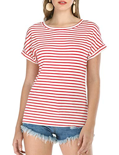 - Haola Women's Striped Tops Summer Casual Round Neck Short Sleeve Blouse T-Shirt Red Stripe L