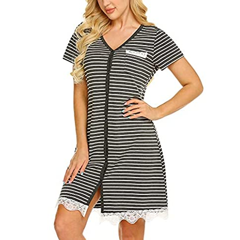 - 51ijzudHHgL - Onniel Women Nightgown Short Sleeves Sleepwear Button Front Nightwear V Neck Striped Sleep Shirt PJ Dress S-XXL