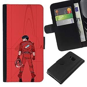 LECELL--Cuero de la tarjeta la carpeta del tirón Smartphone Slots Protección Holder For HTC One M9 -- Kaneua --