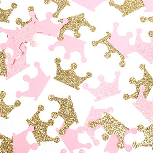 Fonder Mols Gold and Pink Crown Confetti for Princess Birthday Party, Girl Baby Shower Table Scatter Decor(200 Pcs/Pack) -