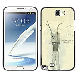 LASTONE PHONE CASE / Slim Protector Hard Shell Cover Case for Samsung Note 2 N7100 / Bag Antlers Sad Emo Ugly Drawing