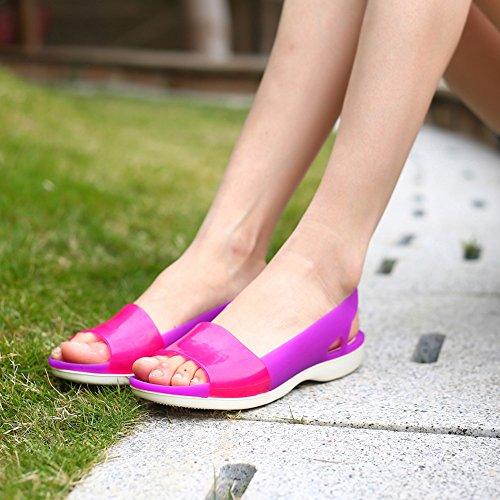 Enllerviid Femmes Peep Toe Sandales À Semelle Plate Glissement Glisser Sur Le Bloc De Couleur Chaussures De Plage Violet