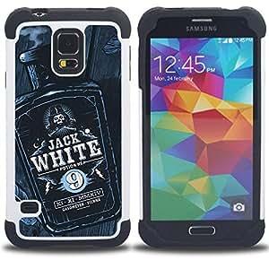 BullDog Case - FOR/Samsung Galaxy S5 I9600 G9009 G9008V / - / JACK BOTTLE LIQUOR WHISKEY BLACK WHITE /- H??brido Heavy Duty caja del tel??fono protector din??mico - silicona suave