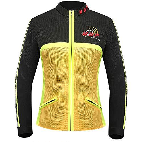 Motorcycle Jacket Summer Motocross Off-Road Jacket Breathable Mesh Moto Jacket Protective Gear Motorcycle Clothing for Men Orange XL