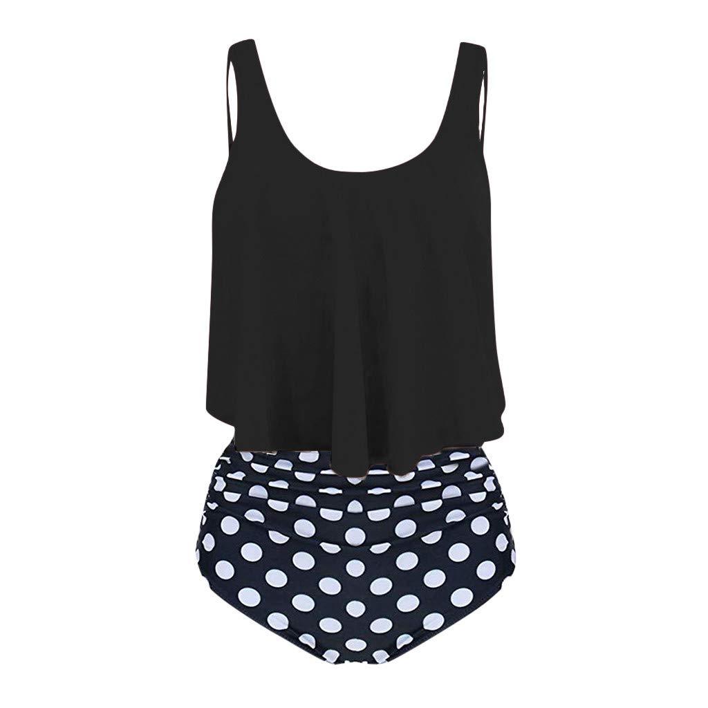 TUDUZ Tankini Damen Wellenpunkt Drucken Schwimmanzug Rüschen Retro Badeanzug High Waist Bikinihosen Bademode Bikini Set