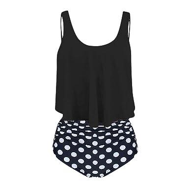 Bfmyxgs Frauen Stilvolle Zweiteilige Plus Size Sexy Backless Halter Dot Mode Gedruckt Bademode Bikini Monokini Set