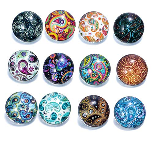Soleebee 12 pcs Round Aluminum Glass 18mm Snap Button Jewelry Charms for Interchangeable Snaps Jewelry Making (Cashew Flower)