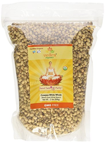 Organic Cowpea White Whole (Black Eyed White Beans) (2 Lbs)