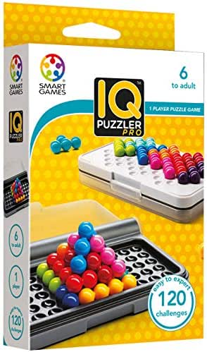 SmartGames IQ Puzzler Pro, a Travel Game for Kids and Adults, a Cognitive Skill-Building Brain Game - Brain Teaser for Ages 6 & Up, 120 Challenges in Travel-Friendly Case.