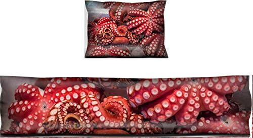 Luxlady Mouse Wrist Rest and Keyboard Pad Set, 2pc Wrist Support IMAGE ID: 35592186 Red live octopus at Tsukiji fish market Tokyo Japan ()