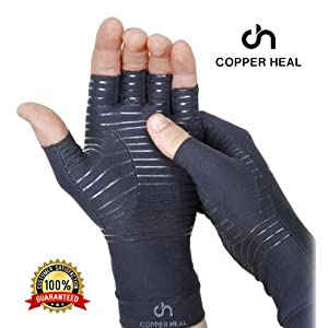 COPPER HEAL Arthritis Compression Gloves – Copper Glove for Rheumatoid Arthritis, Carpal Tunnel, RSI, Osteoarthritis…