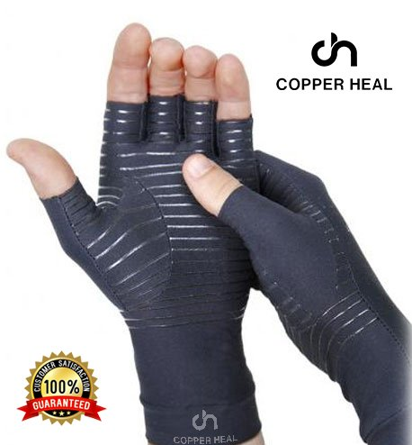 COPPER HEAL Arthritis Compression Gloves - Best Medical Copper Glove Guaranteed to Work for Rheumatoid Arthritis, Carpal Tunnel, RSI Osteoarthritis & Tendonitis Open in Fingers Fingerless Fit Size - Glove Hand