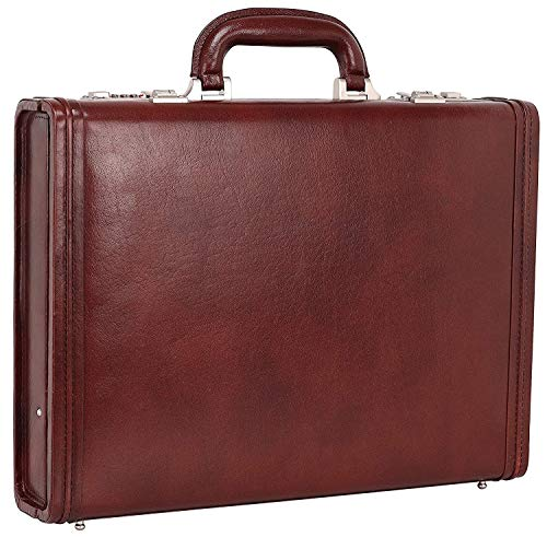 Reo Leather Briefcase Bag for Men with Expandable Features Made in Pure Leather (Brown)