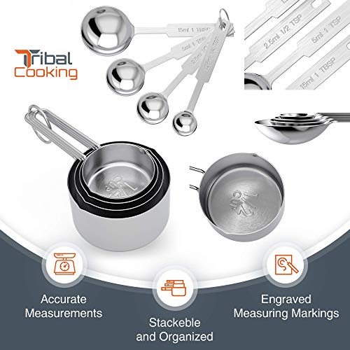 Tribal Cooking Premium Metal Measuring Cups and Spoons Set - Professional Stainless Steel Multi-Piece Cup and Spoon Set - Measure Dry or Liquid Ingredients - Kitchen Measuring Sets for Baking and Cooking