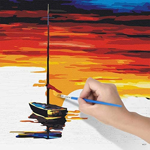 16 x 20 Drawing Paintwork with Paintbrushes PESTON DIY Paint by Numbers Kit for Kids /& Adults Beginner Lakeside Boat Acrylic Pigment