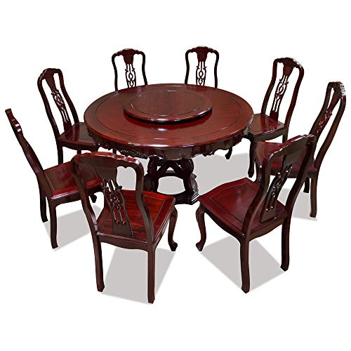 ChinaFurnitureOnline 54in Rosewood Round Table with 8 Chairs and Lazy Susan
