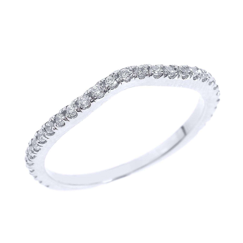 Amazon Solid 14k White Gold Chevron Stackable Diamond Wedding