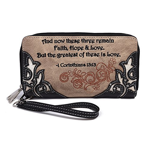 Western Double Zip Around Bible Verse Embroidered Flower Wallet Wristlet Pack Small Pouch Coin Purse (Black) (Zip Pouch Embroidered)