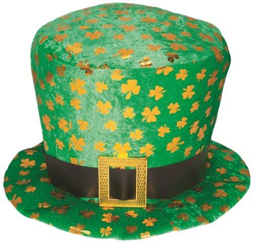 [Jacobson Hat Company Men's Velvet Shamrock Top Hat, Green, One Size] (St Patrick The Saint Costume)