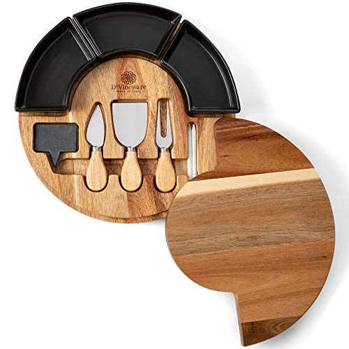 (Round Cheese Board and Knives Set, Acacia Wood, Bowl & Wooden Charcuterie Boards for Cutting Meat, Cheeses, and Wine - Appetizer Serving Tray with Ceramic Bowls, Knife Spreaders, Slates, Chalk)