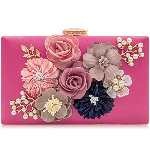 Milisente Evening Bag Clutches purse for Women, Floral Clutch Evening Shoulder Bags, Wedding Crossbody Handbags ()
