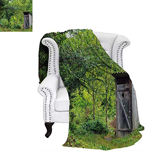 Warm Microfiber All Season Blanket Old Ancient Cottage Outhouse in a Spring Mountian Forest Woods Image Print Artwork Image 70