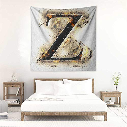 Willsd Letter Z Square Tapestry for Living Room Alphabet Character Capital Z in Burning Medieval Gothic Surrounded by Fire Home Decorations for Bedroom Dorm Decor 47W x 47L INCH Tan Black Orange