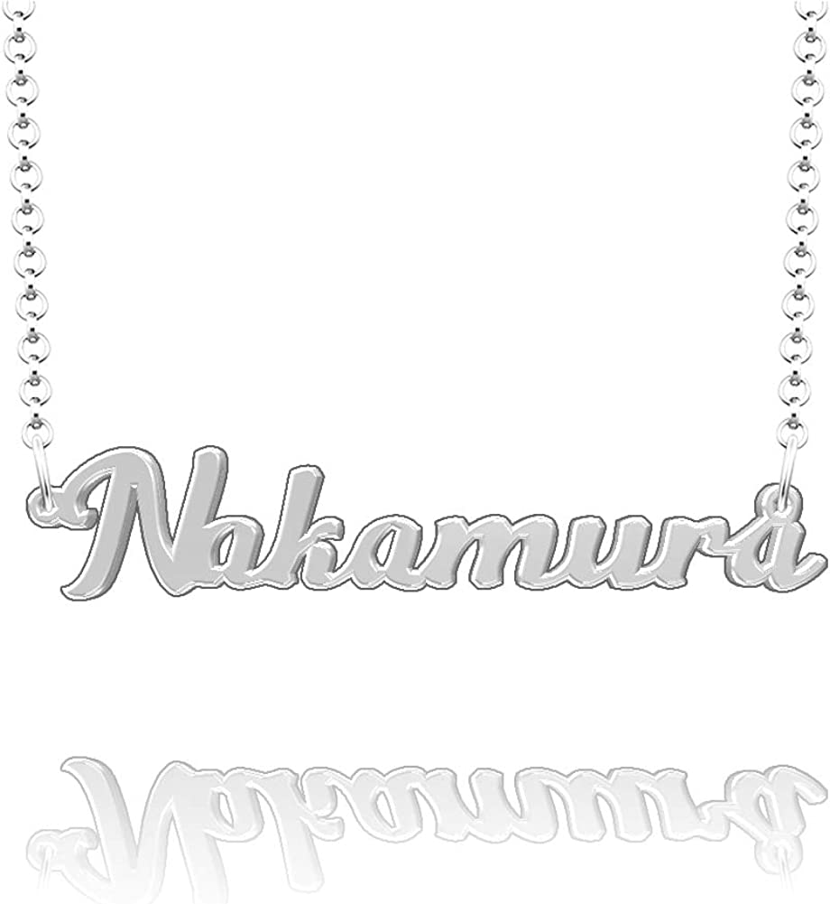 CLY Jewelry Personalized Last Name Necklace Custom Sterling Silver Nakamura Plate Customized Gift for Family