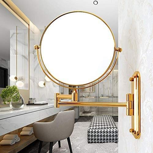 Makeup Mirror,8 Inch Bath Mirror Beauty Mirror Makeup Mirror Double Folding Telescopic Wall Hanging Bathroom Mirror