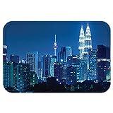 VROSELV Custom Door MatFabric Kuala Lumpur Skyline at Night KLCC Twin TowerMalaysian Landmark Monochromic Photo Decor Navy Black